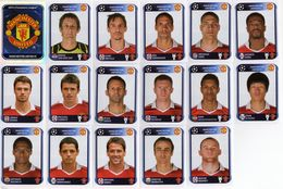 FOOT STICKER FRANCE PANINI UEFA CHAMPIONS LEAGUE 2010/11 N°141 à 157 MANCHESTER UNITED FC EQUIPE COMPLETE 17 STICKERS - Edition Française