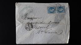 Enveloppe - Ambulant BESP Sur 2 X 20c Bleu Napoléon III Lauré - Année 1870 - Postmark Collection (Covers)