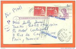 Etats Unis - Poste Aerienne - Carte De Bulton à Paris - Retour à L´envoyeur , Non Reclamé