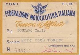 """TESSERA """"FEDERAZIONE MOTOCICLISTICA ITALIANA"""" CONI - F.I.M. - MOTO CLUB TORINO - BOLLINI 1951-1952 - Zonder Classificatie"""