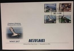 Aitutaki 2016, WWF, Water Birds, 4val In FDC 11.50€