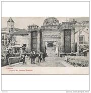 CDBTP5566CPA-LFTD2841TABU.Tarjeta Postal DE CORDOBA.Animales,personas,PUERTA DEL PUENTE ROMANO.Cordoba - Burros