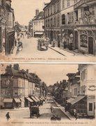 2 CPA Oise - 60200 - Compiègne - La Rue Solférino & La Rue Solférino Prise Du Pont - Carte Animées, Attelages, Vers 1900 - Compiegne