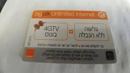 Israel-orange Big Talk-bt-277-(4gtv-bouns+Unlimited Surfing)-(34)-(25.2.2017)--used Card-look Out Side - Israël