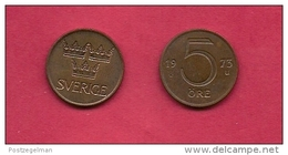 SWEDEN,  1972-1973, Circulated Coin XF , 5 Ore,  Bronze, , KM 845, C2045 - Sweden