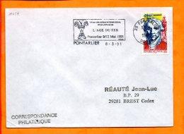 DOUBS, Pontarlier, Flamme SCOTEM N° 11454, L'Age Du Fer, Colloque 9-12 Mai 1991 - Marcophilie (Lettres)