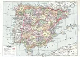Espagne Cartes Géographique Et Economique Recto-verso Larousse 1948 - Mappe