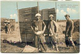 - 58 - SAIGON - Indochine - Coolies Indigènes, Après Le Battage Du Paddy,  Non écrite,  TTBE, Scans... - Viêt-Nam