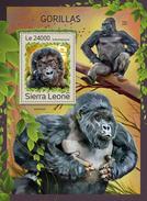 SIERRA LEONE 2016 - Gorillas S/S. Official Issue.