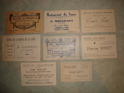 LOT DE 8 CARTES DE VISITE ALLIER MOULINS MONTMARAULT LE DONJON SAINT POURCAIN SOUVIGNY NEUILLY HOTEL RESTAURANT CAFE - Cartes De Visite