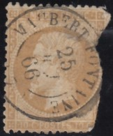 FRANCE - Scott #14 Emperor Napoleon III 'Damaged' / Used Imperf. Stamp - 1853-1860 Napoleon III
