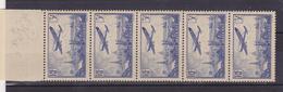 FRANCE  PA 12 MNH**  BANDE DE 5  COTE: 220 EUROS - 1927-1959 Nuevos