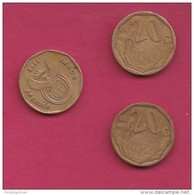 SOUTH AFRICA, 2001, 3 Off Nicely Circulated Coins 20 Cents, C2097