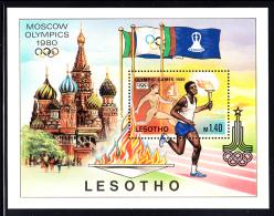 Lesotho MNH 1980 #296 1.40m Totch Bearers 1980 Summer Olympics Moscow - Lesotho (1966-...)