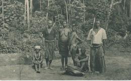 POSTAL DE GUINEA ESPAÑOLA DE UNA FAMILIA INDIGENA DE DUMANDUY (EXPO IBERO-AMERICANA SEVILLA 1929) - Guinea Ecuatorial