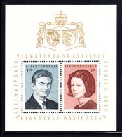 Liechtenstein MNH 1967 #424 Wedding Prince Hans Adam, Countess Kinsky - Liechtenstein