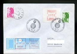 Marcophilie,lettre,horlogerie,chronométre,Liberté Gandon 1.90 Roulette+0.15,vignettes MOG+LSA Obl.Lille 3.11.1987