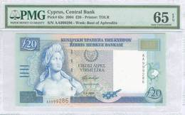 """CYPRUS (GREECE) 20 POUNDS 2004 UNC P-63c PMG 65 EPQ """"free Shipping Via Registered Air Mail"""" - Chypre"""