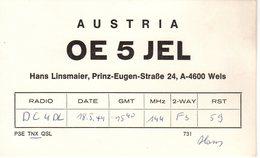 Carte Radio Libre DC 4 DL - 1974 - Austria - OE 5 JEL - Op: Hans Linsmaier, Prinz-Eugen-Strabe 24, A-4600 Wels - Publicités