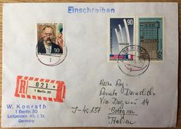Einschreiben Nach Bologna Emilia Levante (Italien) Mit Stempel: Berlin 6. 10. 1975, Luftbrücke, L. Corinth, Denkmal - [5] Berlijn