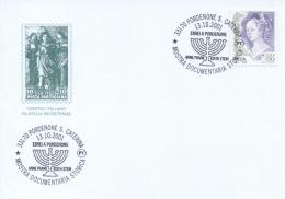 Italia 2001 Annullo Speciale Su Cartoncino Mostra Storica Ebrei A Pordenone Anne Frank Edith Stein