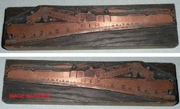 Rare Ancien Tampon D'imprimerie En Cuivre, Train De Marchandise, Quai De Chargement - Cachets