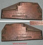 Rare Ancien Tampon D'imprimerie En Cuivre, Wagon De Marchandises, Train - Cachets