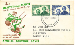 New Zealand FDC 9-10-1944 Health Stamps With Cachet - FDC