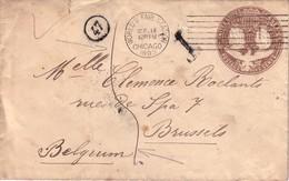 ETATS UNIS - ENTIER POSTAL DE 1893 - POUR LA BELGIQUE - TAXE MANUSCRITE 5. - ...-1900