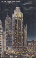 Illinois Chicago The Tribune Tower By Night 1955 Curteich - Chicago