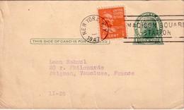 ETATS UNIS - ENTIER POSTAL AVEC COPLEMENT POUR LA FRANCE - 1947.
