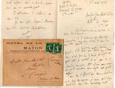 VP7977 - Guerre 14 / 18 - Lettre De Mr MATON à L'Hôtel De La Gare à DAMARTIN SUR TIGEAUX Pour CONGIS - Récit - Manuscrits