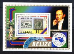 BELIZE 1984, AUSIPEX, R. HILL, PONT En Timbre Sur Timbre, Kangourou, 1 Bloc, Neuf. R283 - Belice (1973-...)