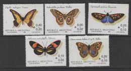 Q382.-. 1985 - ARGENTINA. SC#: B111-115 - MNH - BUTTERFLIES / MARIPOSAS - SCV: US$ 8.00 - Papillons
