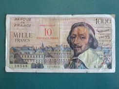 Billet De Banque, France, Richelieu 1000 Francs SURCHARGÉ 10 NOUVEAUX FRANCS 7/3/1957, N° 28548, K332, Bon état - 1955-1959 Surchargés En Nouveaux Francs