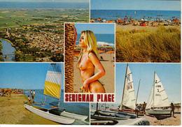 34 Sérignan Plage N°2013 En 1983 5 Vues Baigneuse Aux Seins Nus Voiliers Vue Aérienne Plage - Non Classés