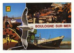 Cpm BOULOGNE SUR MER Premier Port De Pêche D' Europe Chalutiers En Débarquement De Poissons - Boulogne Sur Mer