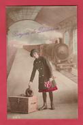 Quiévrain - Bonjour De ... Train En Gare , Passagère - 1916 ( Voir Verso ) - Quiévrain