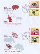 Macedonia 1998 Set/4 Fossil Bones, Prehistoric #132-5- Two FDCs - Macedonia