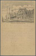 1888, JENA, Forsthaus Und Kriegerdenkmal, Vorläuferkarte 5 Pf. Lila Als Privatganzsache Mit K1 JENA 28.7.88 In... - Postcards
