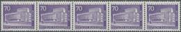 1956, 70 Pf Dkl'bläulichviolett, Waagerechter 5er-Streifen Mit Ungerader Zählnummer (0965), Tadellos...