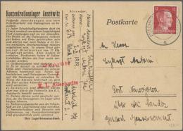 """Auschwitz 1942 (13.8.) Vordruck-Postkarte Mit Sehr Sauberen Rotem Zensur-L3 """"Geprüft 7 K.L. Auschwitz"""" Und... - Stamps"""