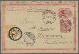 """1901, China Ganzsachenkarte 1 C. Mit Zufrankatur 2 C. Rot Mit Oval-Stempel """"PEKING MRZ.27.1901) Und Marke Jap. Bes.... - Offices: China"""