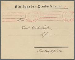 1908, Seltener Roter SYLBE-Maschinen-Bandstempel STUTTGART / Postamt Nr. 1 / 21.5.08 Als Postfreistempel Auf... - Germany