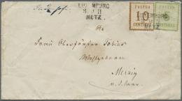 """1871, """"LUXEMBURG 1 3/9 71 METZ"""" Bahnpost-L3 Auf 5 C Grün MiF Mit 10 C Ockerbraun Nach Merzig/Saar, Handschr.... - Alsace-Lorraine"""