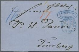 "1867, ""HAMBURG ST.P. 29.10.67"", Blauer DKr. Auf Komplettem Faltbrief Mit Rückseitigem Blauem Oval-Stempel..."