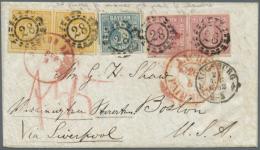 1850, 3 Kr. Blau, Platte V, 1 Kr. Rosa Im Waagerechten Paar Und 18 Kr. Gelborange Im Waagerechten Paar Als... - Bavaria