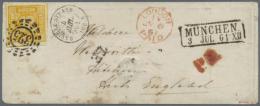 1854, Freimarke 18 Kr Gelborange Auf Weiß Als Einzelfrankatur Auf Vollständigem Briefcouvert Nach... - Bavaria