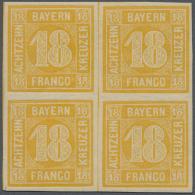 1854, 18 Kr. Orangegelb, Leuchtend Farbintensiver, Allseits Voll- Bis Breitrandiger 4er-Block, Ungebraucht Mit... - Bavaria