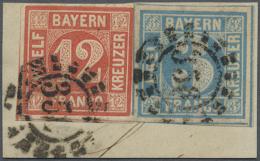 """1858, Freimarken12 Kr Und 3 Kr, Entwertet Mit OMR """"356"""" (Nürnberg) Auf Kleinem Briefstück, Marken Voll-... - Bavaria"""